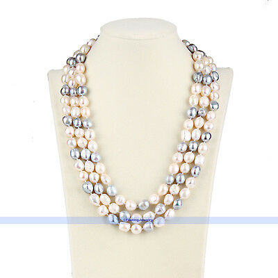 "Long 62"" 10mm White & Grey Baroque Freshwater Pearl Necklace 