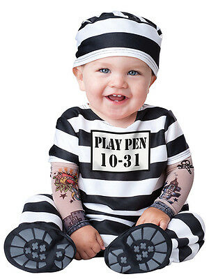 Toddler Infant Convict Outfit Fancy Dress Costume Halloween Prisoner Boys Girls
