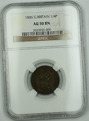 1806 Great Britain 1/4 Penny Farthing Copper Coin George III AU-50 Brown AKR