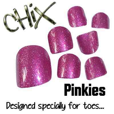 CHIX Nail Wraps NEW PINKIES Pink Glitter Sparkles JUST 4 TOES Foils Nails Salon