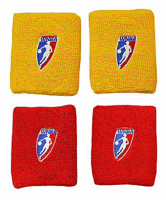 WNBA Official Basketball Two Double Wide Wristbands, Red and Yellow