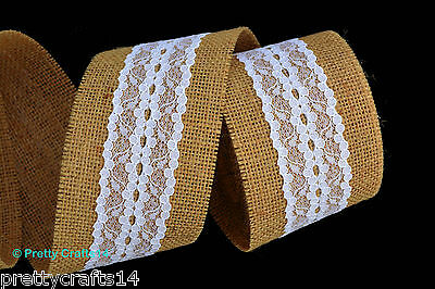 Rustic Hessian Ribbon with Lace Trims Natural Jute Burlap Tape Wedding Favours