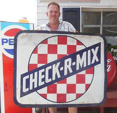 1965 Original Purina Check-R-Mix Metal Feed Advertising General Store Sign Farm