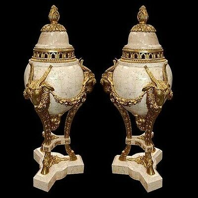 Pair of Beige Neo-Classical Urns Executed in Empire Style with Heavy Gilding #85