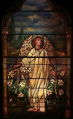 Tiffany Stained Glass Angel Window, 7'H #7670
