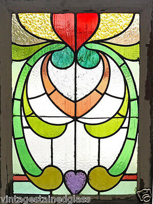 Antique Stained Glass Window Eight Color Ruby Art Nouveau Heart           (2736)
