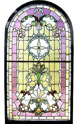 Victorian Stained Glass Landing Window, Arched Top  c. 1890 #6581