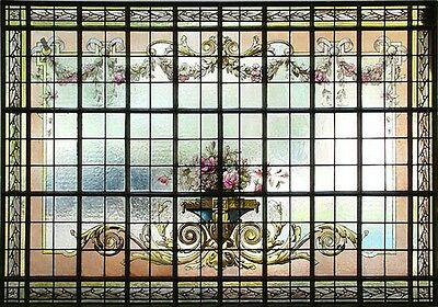 Stained Glass & Hand Painted Window, Floral Design #6584 • CAD $10,797.12