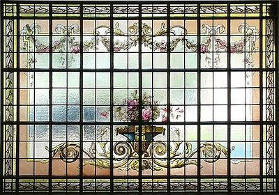 Stained Glass & Hand Painted Window, Floral Design #6584