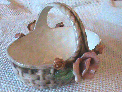 Beautiful Porcelain Floral Design Basket  - Made in Italy