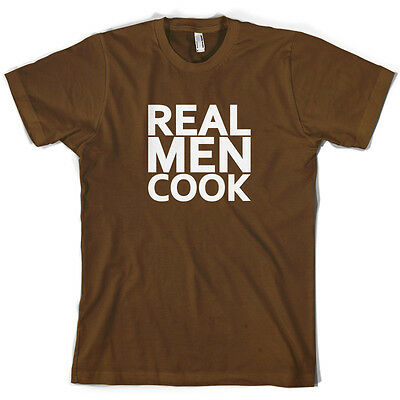 Real Men Cook - Mens T-Shirt - Cooking - Chef - Food - 10 Colours - Free UK P&P