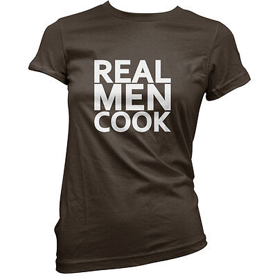 Real Men Cook - Womens / Ladies T-Shirt - Cooking - Chef - Food - 11 Colours