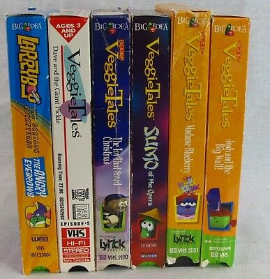Veggie Tales Lot of 6 VHS Christian Videos Sumo of the Opera Dave Giant Pickle