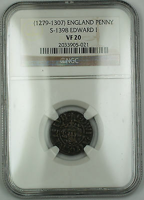 1279-1307 England Long Cross Penny Silver Coin S-1398 Edward I NGC VF-20 AKR