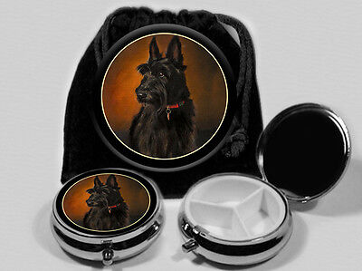 Scottish Terrier Dog Pocket Mirror and Pill Box with  Black Pouch #3311