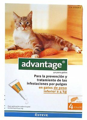 ADVANTAGE PARA GATOS DE   4 KG (4 pipetas) – ANTIPARASITARIO