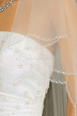 2T Ivory Bridal Fingertip Length Scalloped Beaded Edge Wedding Veil