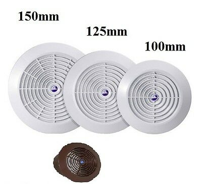 White Brown Ceiling Air Vent Grille Circle Ventilation Cover Plastic 100 125 150