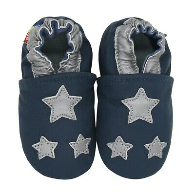carozoo silver star dark blue 0-6m soft sole leather baby shoes