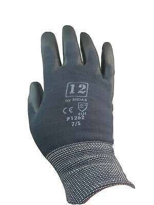 Seamless Gardening gloves PU coated light weight Mens SML( ladies Med)black