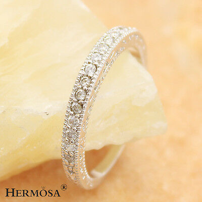 65% OFF Special Movement White Topaz Wedding Party 925 Sterling Silver Ring Sz.7