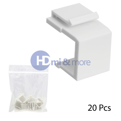 20x Snap-in Keystone for Wall Plate Blank Insert White