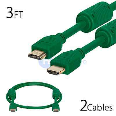 2 Pack Lot 3FT Premium High Speed Gold HDMI Cable HDTV PS3 Xbox 1080p - Green