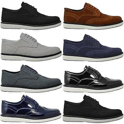 Mens Casual Black Faux Leather White Suede Smart Formal Trainers Wedding Shoes