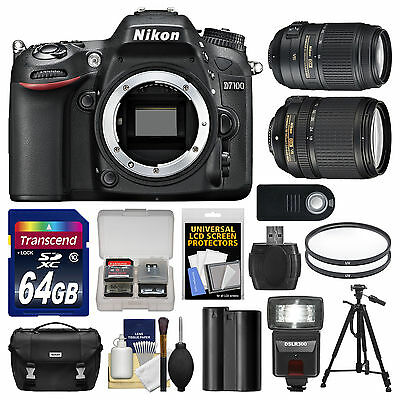 Nikon D7100 Digital SLR Camera Body Kit + 18-140mm & 55-300mm VR Lens 24.1MP USA