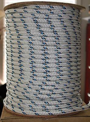 16mm x 100m Polyester Double Braided YACHT Rope ~Black/Blue Fleck~STRONG 3449kg