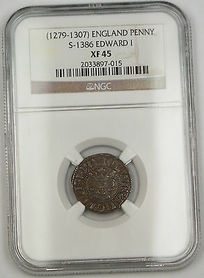 1279-1307 England Long Cross Penny Silver Coin S-1386 Edward I NGC XF-45 AKR