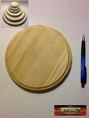 "M00505 MOREZMORE Unfinished 7"" Round Wood Base Wooden Plaque Stand T20"