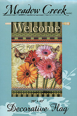 Meadow Creek Decorative Flag Banner Welcome Floral Wishes Dasey & Butter Fly