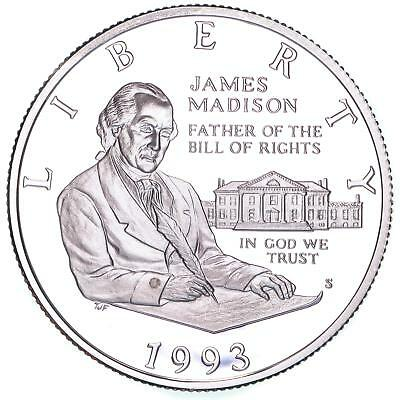 1993 S James Madison Bill Of Rights Proof Commemorative Half 90% Silver