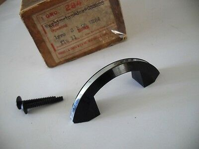 Vtg NOS 50s 60s DRAWER / DOOR Pulls BLACK Early Plastic w Chrome Strip Art Deco