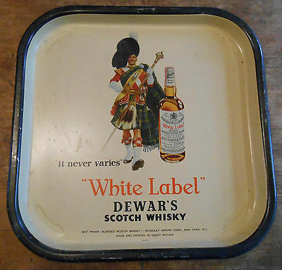 graphic lithographed tin serving tray advertising White Label Scotch Whiskey