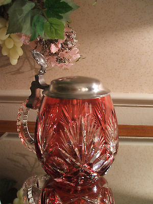 Cranberry Cut to Clear Crystal Beer Stein W/ Pewter Lid and Notched Handle