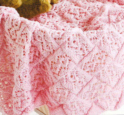 "Lace Stitch Entrelac Baby Blanket ~ DK Knitting Pattern ~  26"" x 40"""