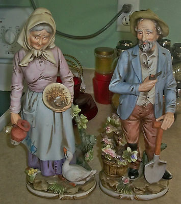 Home interiors homco country old couple lady Eba home interior figurines