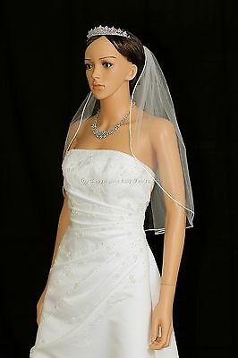 1T Ivory Elbow Length Rattail Edge Bridal Wedding Veil