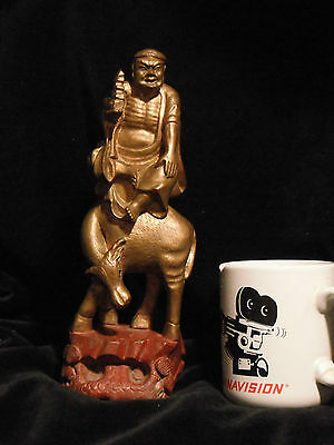 Rare Buddhist Lohan Raised Pagoda Chinese Wood Carving Red Lacquer Gold Leaf 19c