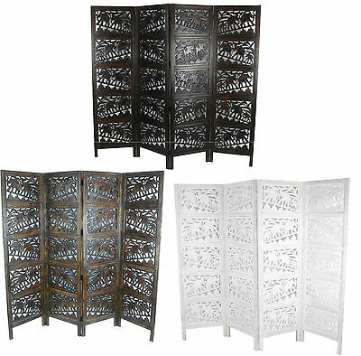 4 Panel Heavy Duty Wooden Indian Screen Elephant Screen Hand Carved 180x203cm