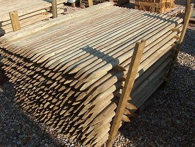 10 x 1.65m (5.5ft) x 40mm diam. round wooden fence posts stakes pressure treated