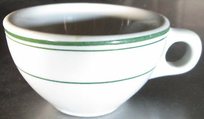 8 BUFFALO CHINA GREEN STRIPE RIM COFFEE CUPS VINTAGE RESTAURANT DINER