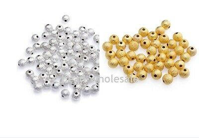 Lots 80/100Pcs Gold/Silver Plated Round Copper  Ball Spacer Beads 3/4mm