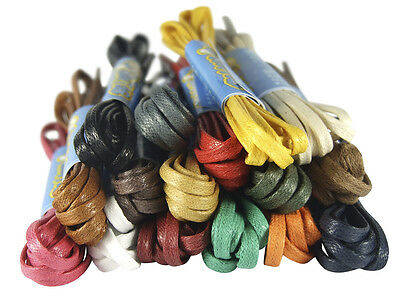 WAXED FLAT COTTON SHOE LACES SHOELACES - 3mm wide - 16 COLOURS - FREE UK P&P!