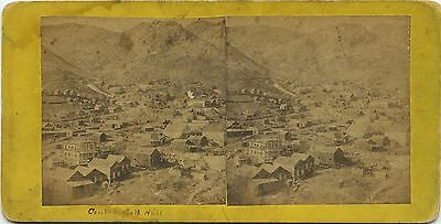 Nevada, stereoview 1860's General View of Gold Hill, NV Under Construction