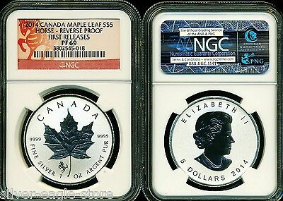 2014 $5 SILVER CANADA MAPLE LEAF HORSE PRIVY NGC PF69 FR 1 OZ .999 REVERSE PROOF