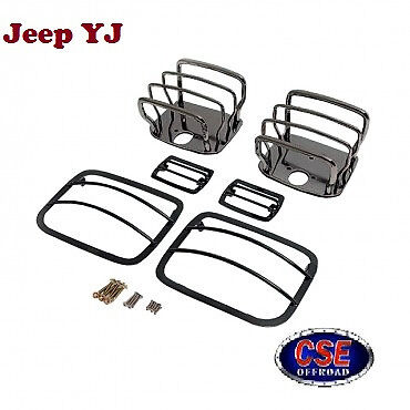 Euro Guard Kit Black Chrome Jeep Wrangler YJ 1987-1995 11180.06 Rugged Ridge
