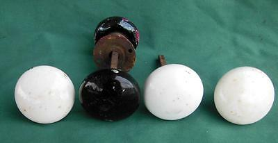 5 Pc Door Knobs 2 Set Antique Victorian White Black Porcelain + Hardware Remodel